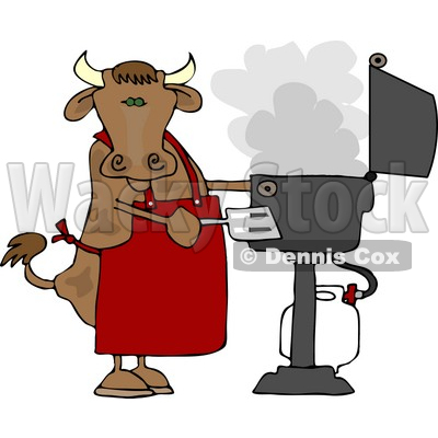 Cow Cooking BBQ On an Outdoor Propane Grill Clipart © djart #4529