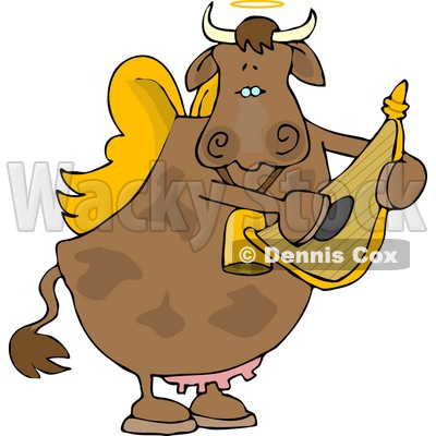 Cupid Angel Cow Playing a Small Harp Clipart © djart #4533