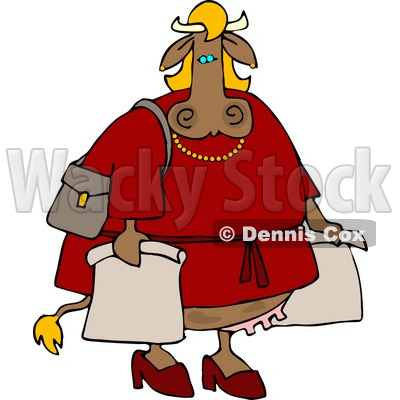 Female Cow On a Shopping Spree Clipart © djart #4538