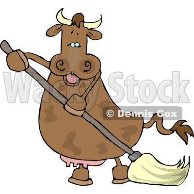 Happy Human-like Cow the Mopping Floor Clipart © djart #4541