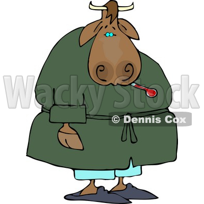 Sick Male Cow Using a Common Mercury Thermometer Clipart by Dennis Cox