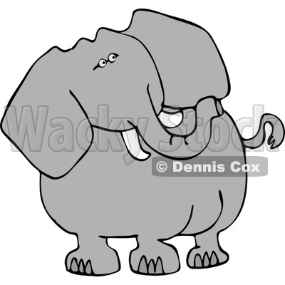 Alert Elephant Looking Over His Shoulder for Poachers Clipart © djart #4561