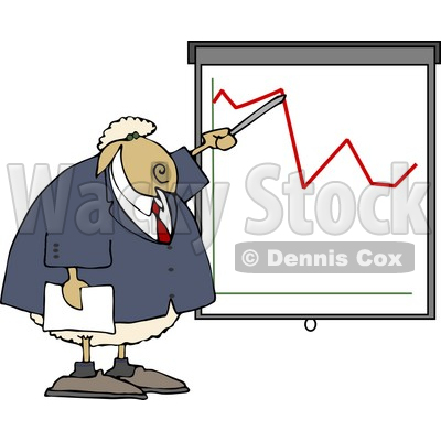 Anthropomorphic Sheep Business Person Pointing at a Graph Which Demonstrates a Drop Clipart © djart #4566