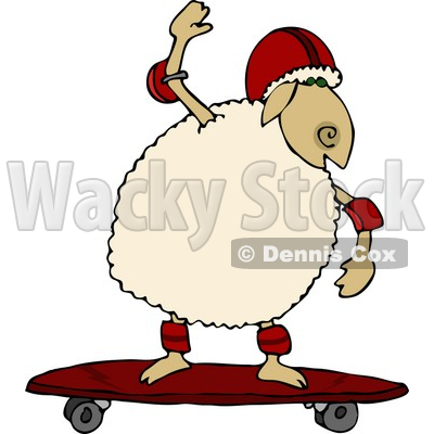 Anthropomorphic Sheep Skateboarding Clipart © djart #4567
