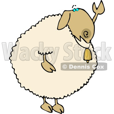 Anthropomorphic Sheep Waving Hand Goodbye or Hello Clipart © djart #4569