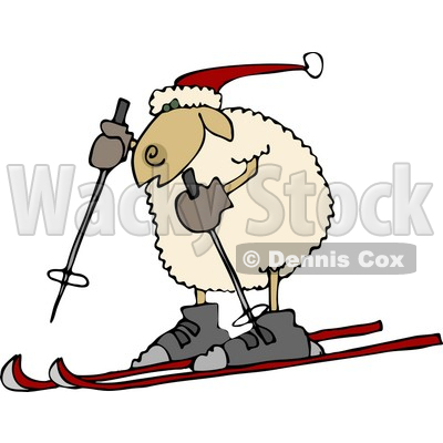 Anthropomorphic Sheep Snow Skiing Clipart © djart #4581