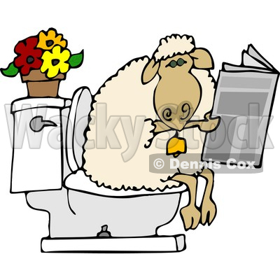 sheep going poop in a human toilet and is reading a newspaper