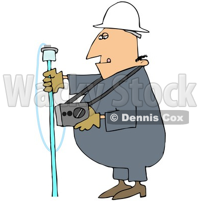 Royalty-Free (RF) Clipart Illustration of a Gas Worker Guy Carrying A Detector © djart #46047