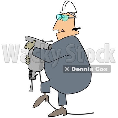 Royalty-Free (RF) Clipart Illustration of a Construction Worker Guy Carrying A Jackhammer © djart #46053