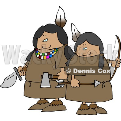 Two Female Indian Warriors Holding a Knife, Hatchet, and Bow an Arrow Clipart © djart #4618