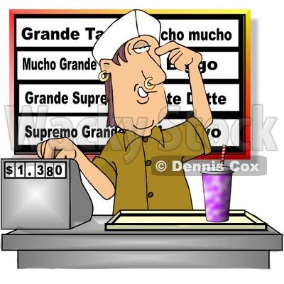 teenage boy working the cash register at a fast food Money Clip Art Toy Cash Register
