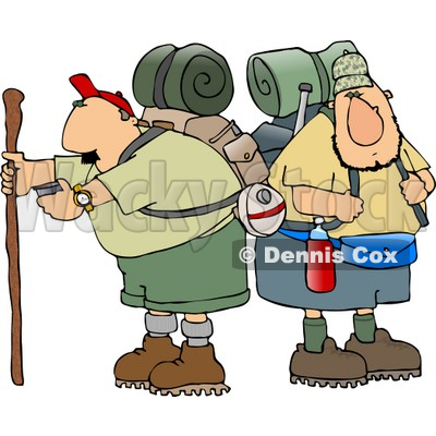 Two Male Hikers with Backpacks and Hiking Gear Clipart © djart #4655
