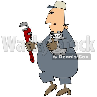 Royalty-Free (RF) Clipart Illustration of a Gas Man Carrying A Meter And A Wrench © djart #46797