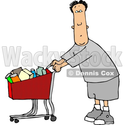 Man Pushing a Shopping Cart Filled with Food in a Grocery Store Clipart © djart #4682