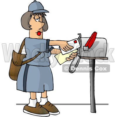 Female Mail Carrier Delivering Mail Into a Mailbox Clipart © djart #4683