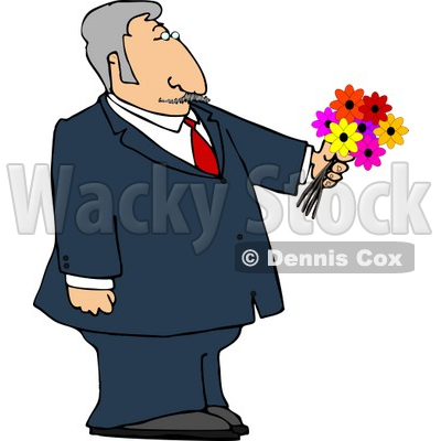 Dressed Up Elderly Man Holding a Bouquet of Flowers For His Blind Date Clipart © djart #4691