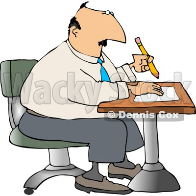 Businessman Sitting at a Desk and Writing On Paper with Pencil Clipart © djart #4696