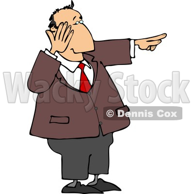 Businessman Laughing While Pointing His Finger at Something Clipart © djart #4697