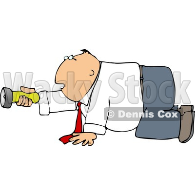 Businessman Crawling On the Ground While Pointing a Flashlight in the Darkness Clipart © djart #4698