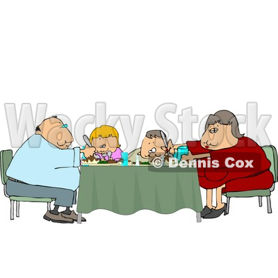 Dinner Room Tables on Family Eating Dinner Meal Together At The Dining Room Table Clipart