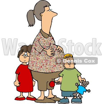 Pregnant Woman Standing with Her Son and Daughter Clipart © djart ...