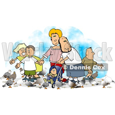 Happy Family Feeding Pigeons Clipart © djart #4715