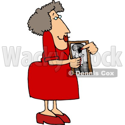 Proud Mom Showing a Picture of Her Son Who Helping with the War On Terrorism Clipart © djart #4721