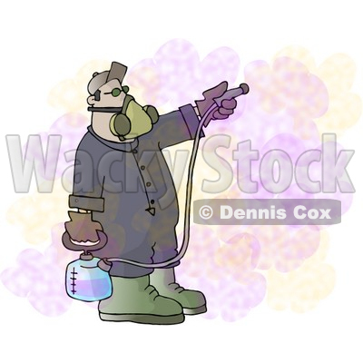 Man Spraying a Pesticide/Insecticide Chemical Substance Used to Kill Insects Clipart © djart #4725