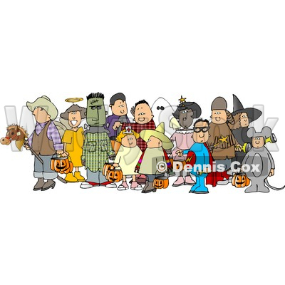 Group of Adults and Children Wearing Halloween Costumes Clipart © djart #4744