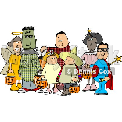 Group of Male and Female Halloween Trick-or-treaters Clipart © djart #4745