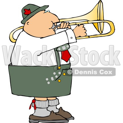 Male German Trombone Player Playing his Brass Instrument by Himself Clipart © djart #4748