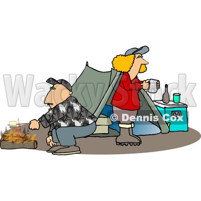 Husband and Wife Camping Together Alone Clipart © djart #4750