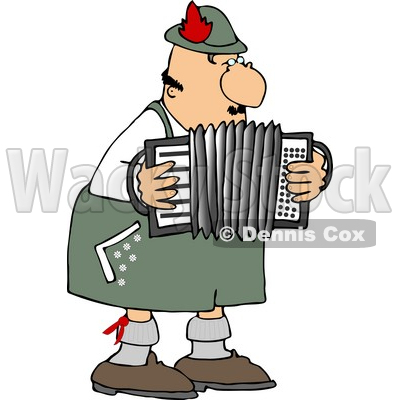 Male German Accordion Player Playing Music By Himself Clipart © djart #4751