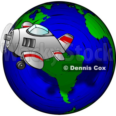 Traveling Concept of a Plane Flying Around the Globe Clipart © djart #4752