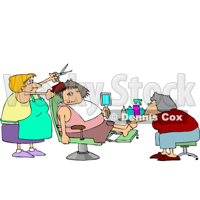 Pampered Woman Getting a Pedicure and Haircut at a Beauty Salon Clipart © djart #4756