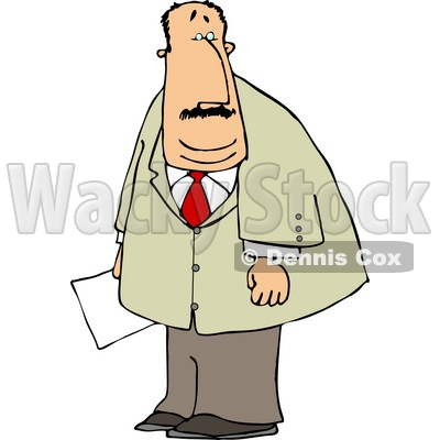 Obese Businessman Holding a Document In His Hand Clipart © djart #4758