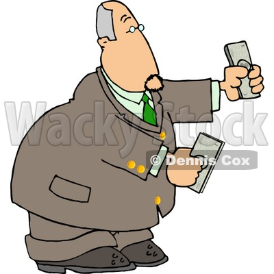 Banker Businessman Holding Cash Money in Both Hands Clipart © djart #4770