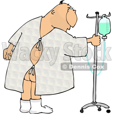 Hospitalized Ill Man Walking Around with an Intravenous (IV) Drip Line with Fluids Clipart © djart #4771