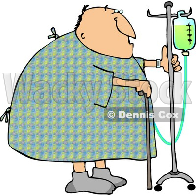 Recovering Male Hospital Patient Walking Around with a Cane and an Intravenous Injection Drip Line Stroller Clipart © djart #4772