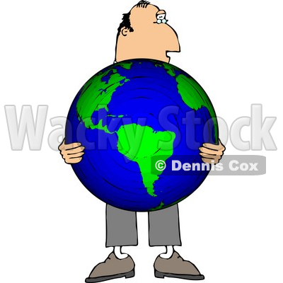 Businessman Holding the World in His Hands Clipart © djart #4784