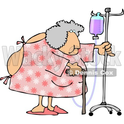 Obese Elderly Woman Walking Around with a Cane While Attached to a Portable Intravenous Drip Line Clipart © djart #4794