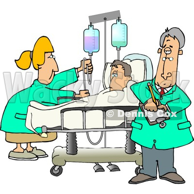 Nurse and Doctor Caring for a Hospitalized Man Attached to an IV Fluid Drip Line Clipart © djart #4796