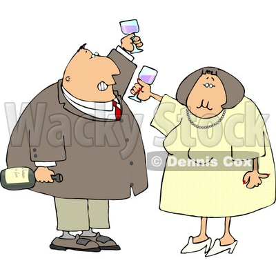 Man and Woman at a Party Drinking Wine While Celebrating New Years Holiday Clipart © djart #4798