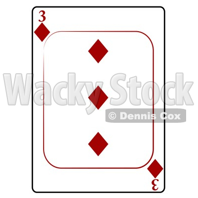 Three/3 of Diamonds Playing Card Clipart © djart #4836