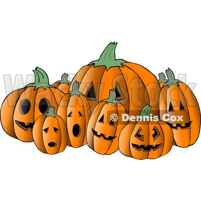 Scary Halloween Pumpkin Carvings Clipart © djart #4868