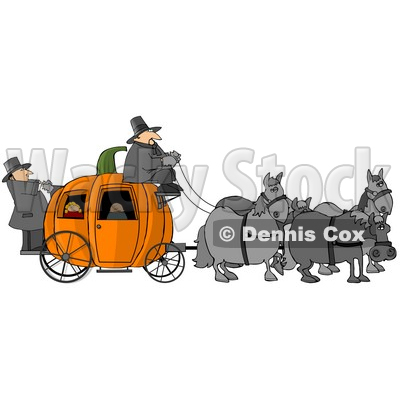 Horses Pulling People On a Pumpkin Carriage Clipart © djart #4871