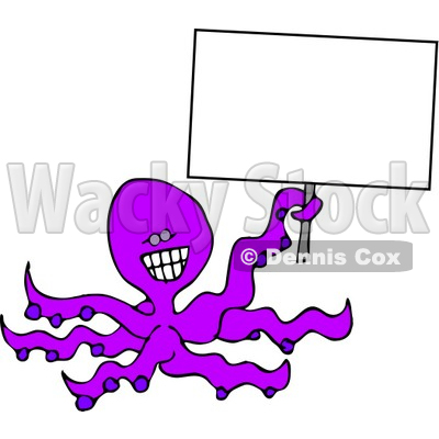 Smiley Octopus Holding a Blank Sign Clipart © djart #4878