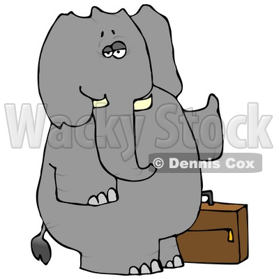 Human-like Elephant Trying to Hitch a Ride Clipart © djart #4885