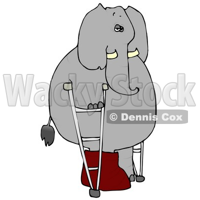 Injured Human-like Elephant Walking Around with a Broken Leg On Crutches Clipart © djart #4889