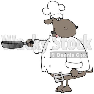 Human-like Chef Dog Cooking with a Skillet and Spatula Clipart © djart #4897